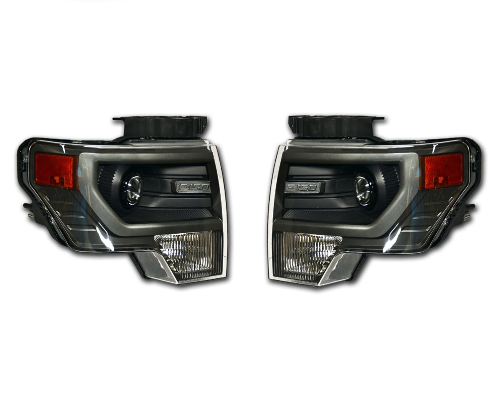 2013 Ford F-150 GREY HID Headlights - PAIR - Left + Right - Decontented